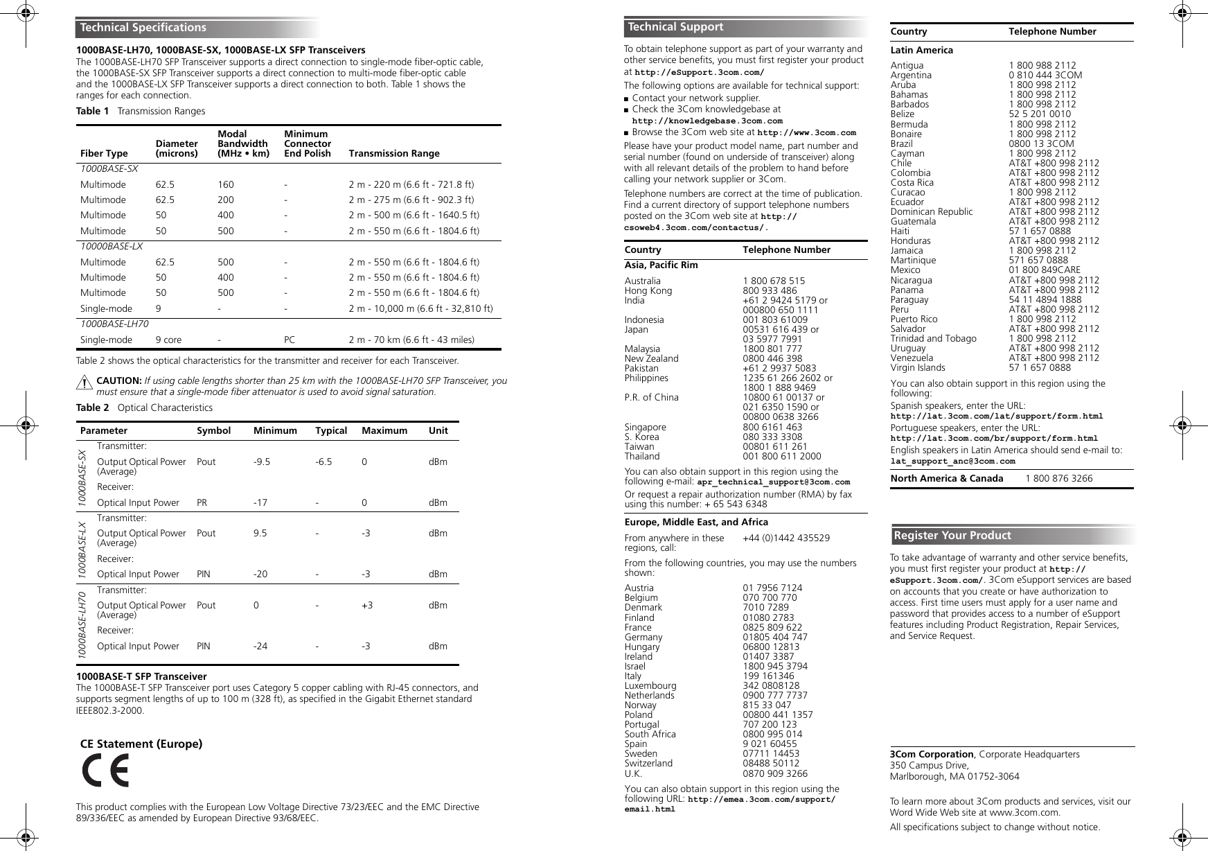 3Com 1000BASE SX (3CSFP91) User Manual To The 7b258503 d630