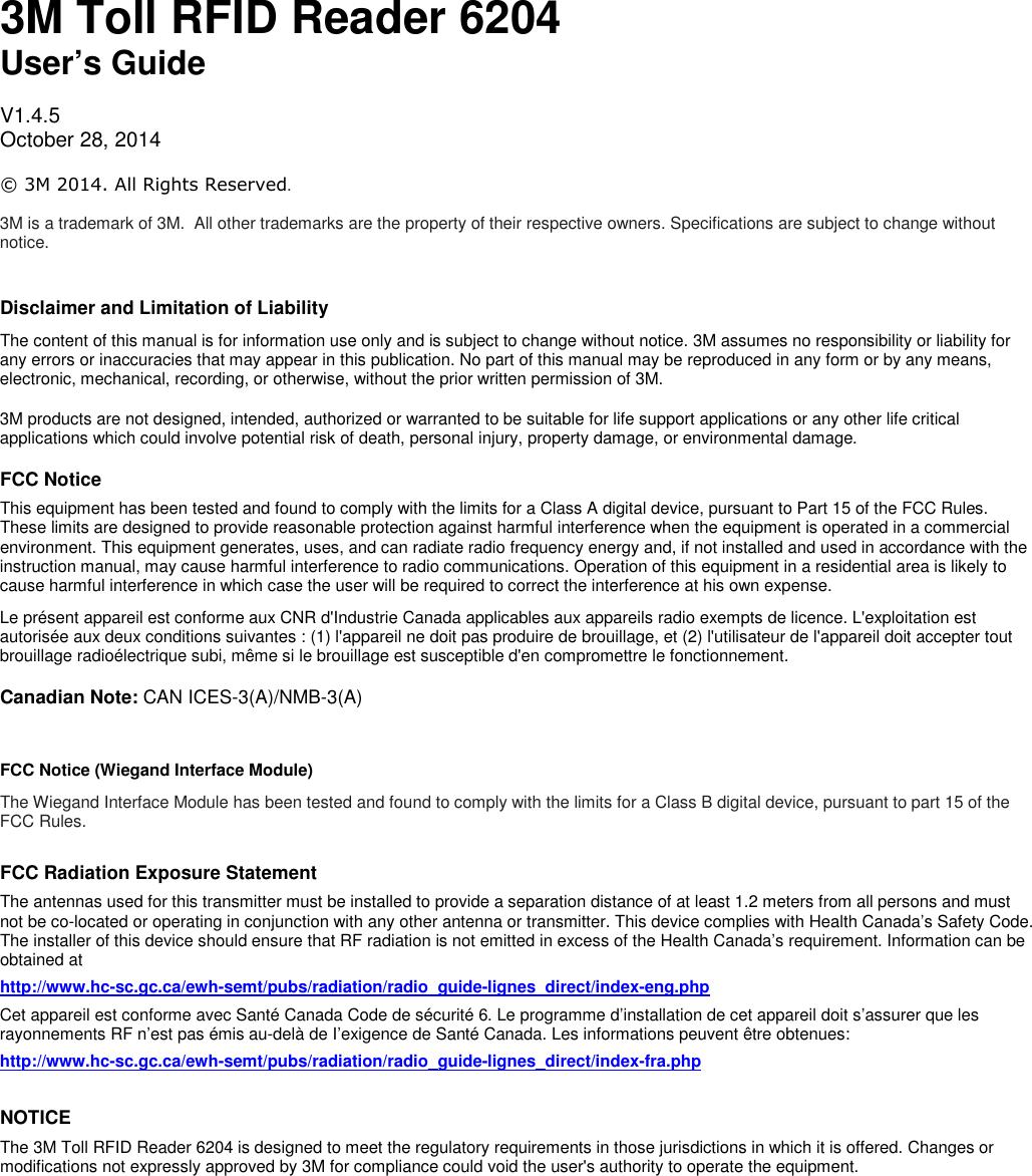 Colorado Shooting Radio Traffic: 3M Traffic Safety Systems 6204 3M UHF RFID Reader User Manual