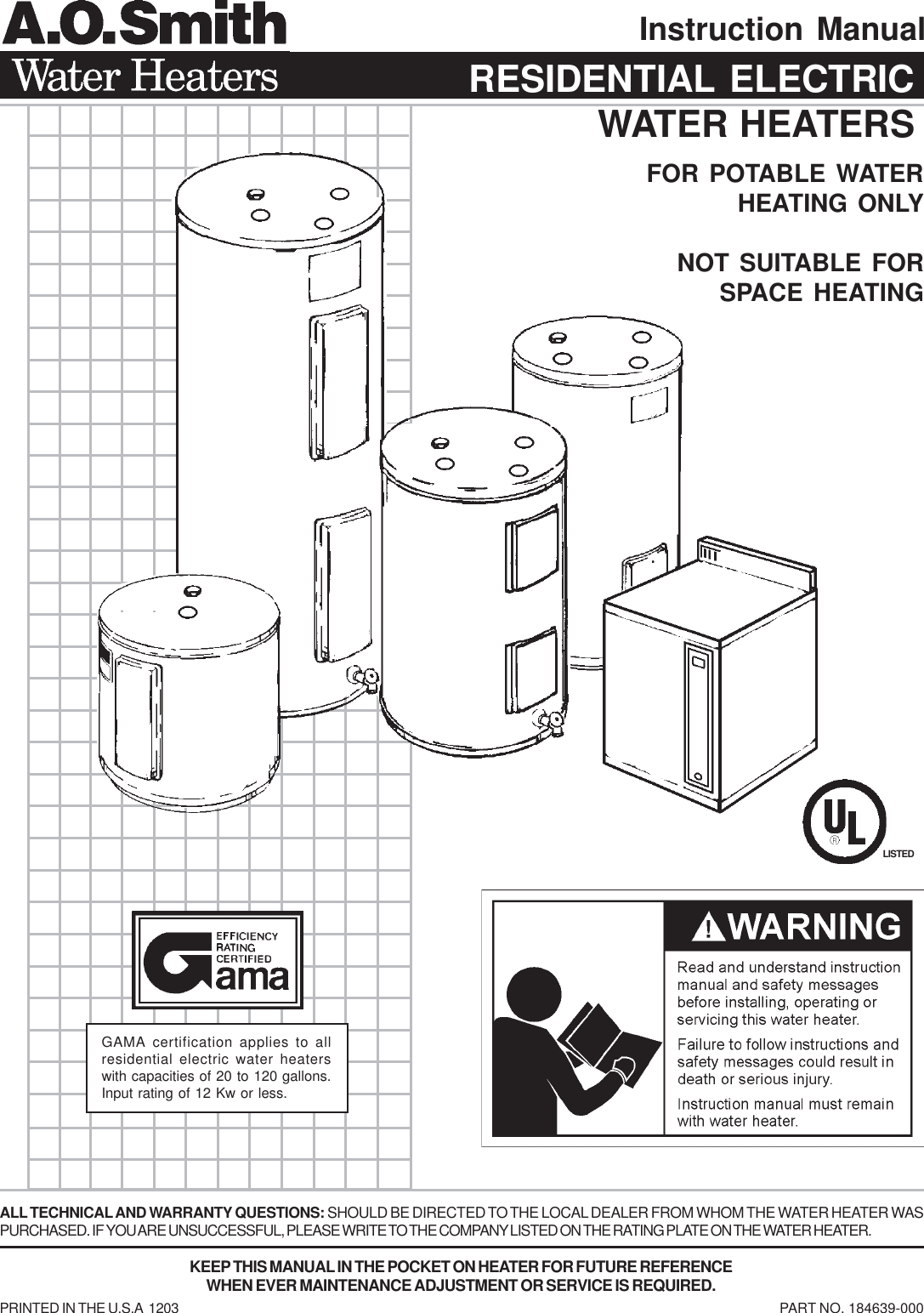 a o smith water heaters instruction manual residential