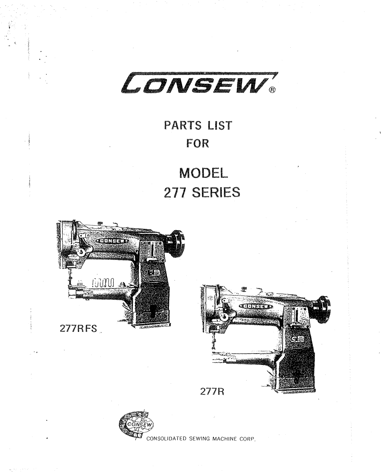 ACE&EASTMAN Consew 277R Parts Book User Manual