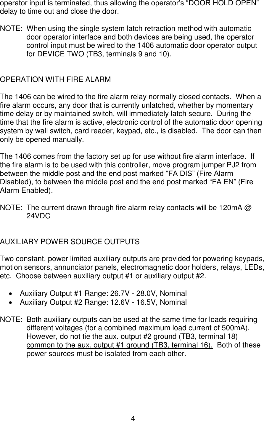 Acsi Xxxxxxxxxxx Electric Latch Retraction Controller 1406 04 Ao Ii Relay Diagrams Latched Output Momentary To Constant Page 4 Of 8
