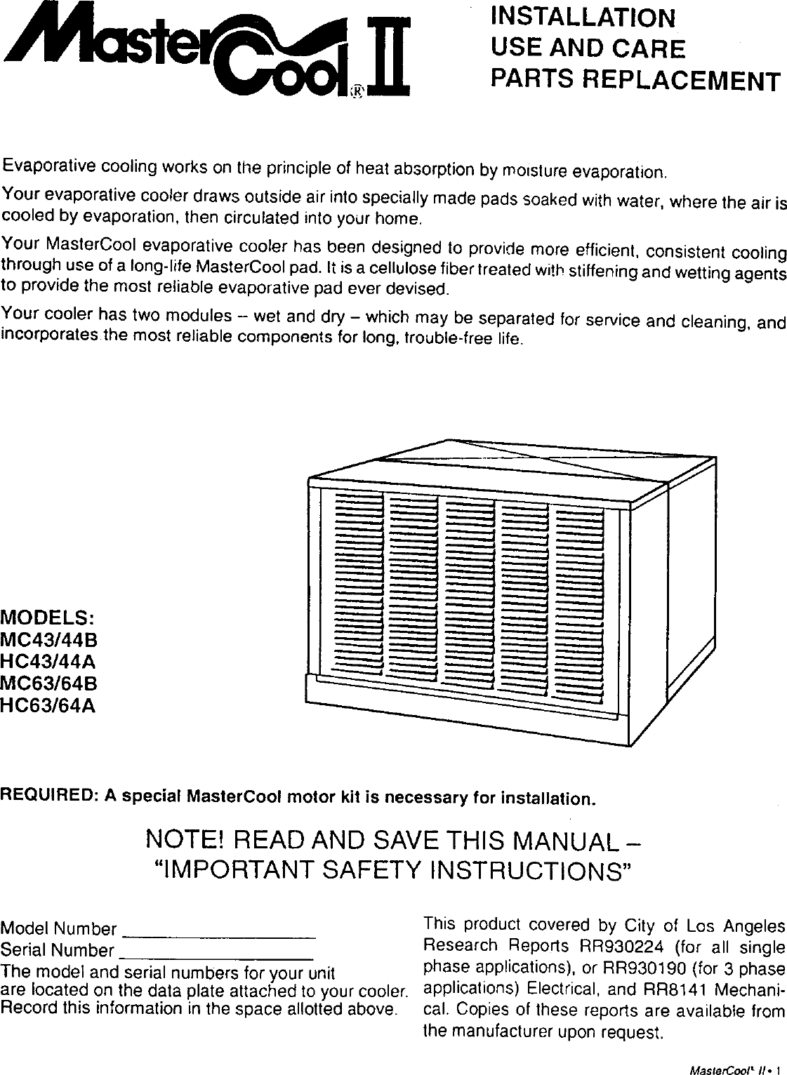 Adobeair Evaporative Cooler Manual L9070130 Mastercool Motor Wiring Diagram