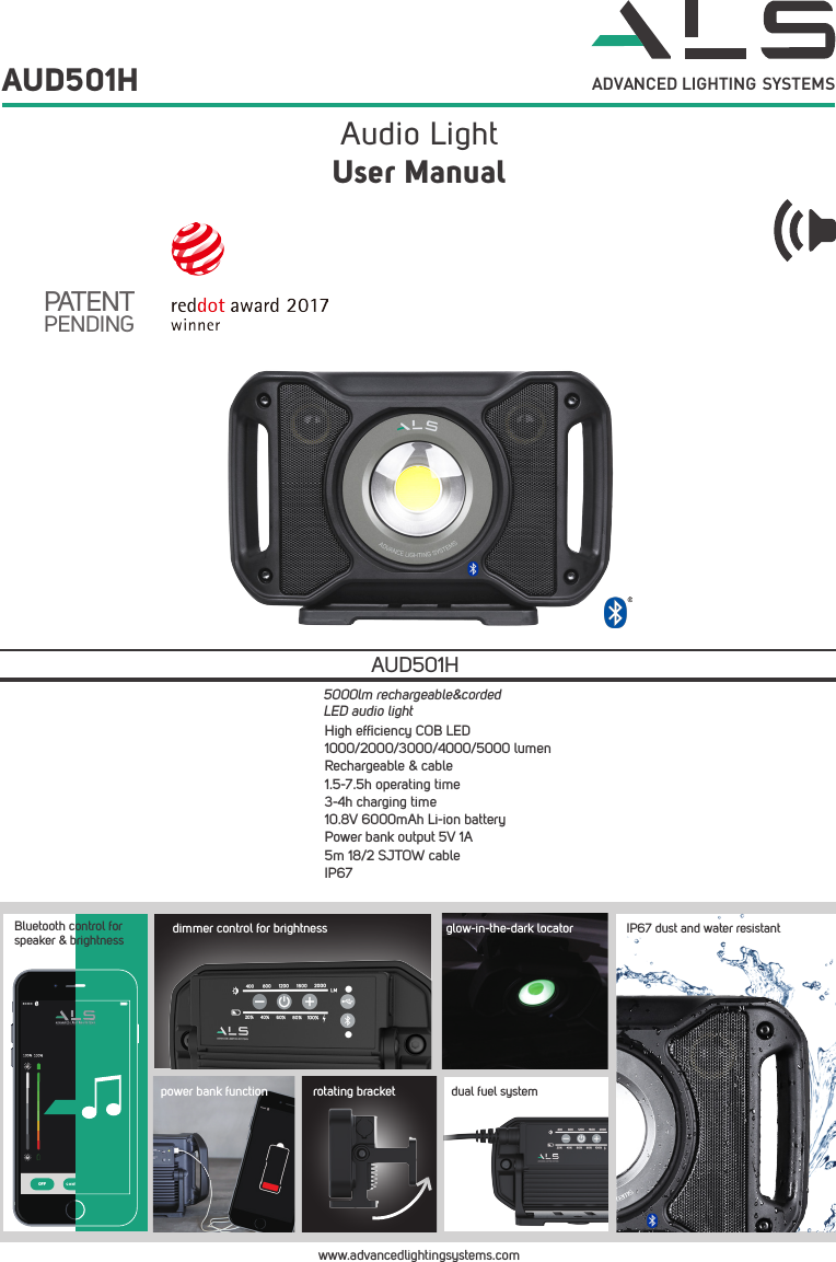 AEC Lighting Solutions AUD501H LED Audio Light User Manual