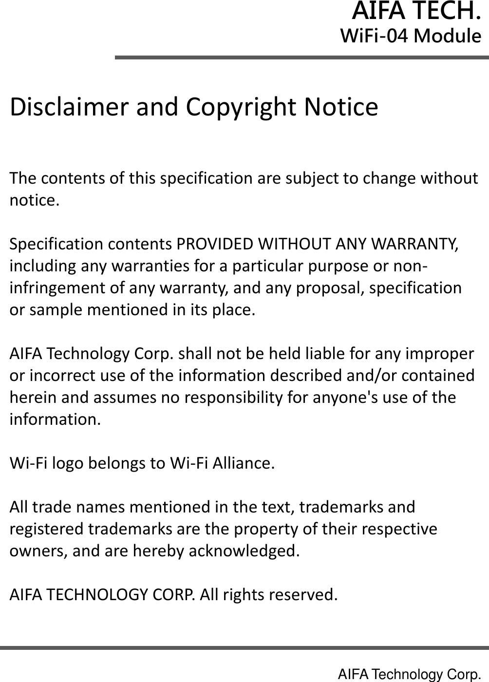 AIFA TECHNOLOGY WIFI-04 WiFi Module User Manual PowerPoint
