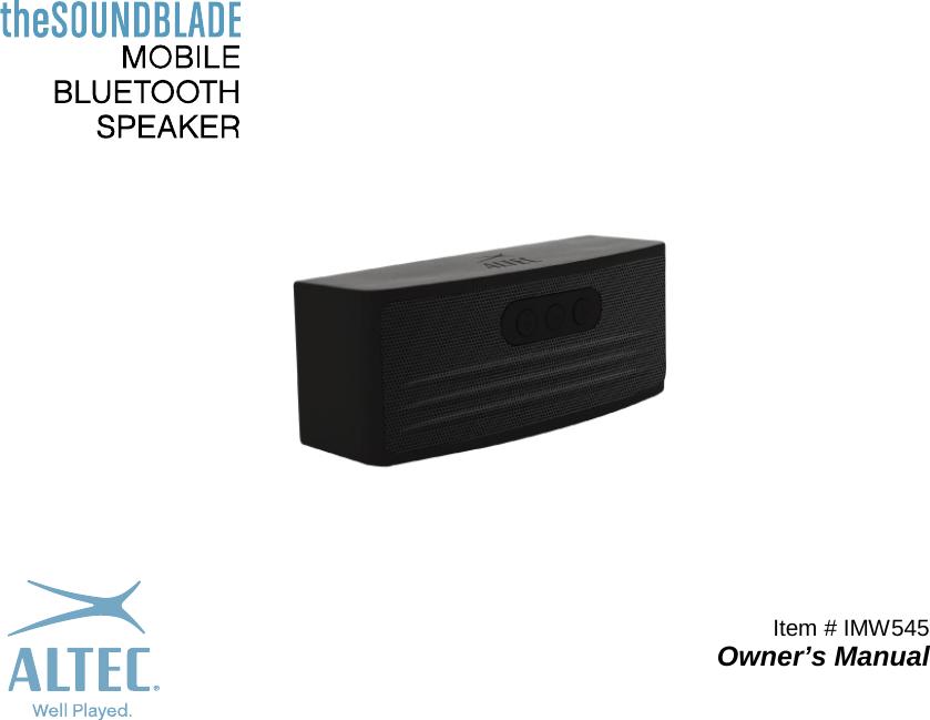 AIPO IMW545 Bluetooth Speaker User Manual 13690 13597 Digital Photo ...