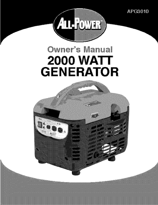ALL POWER AMERICA Generator Manual L0905379