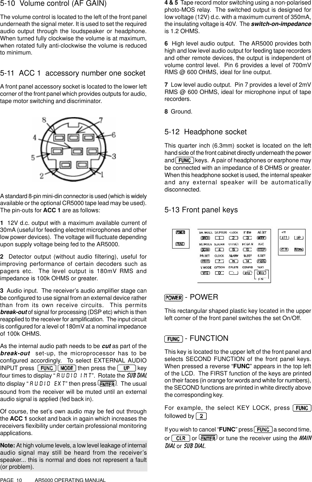 Aor Usa Ar5000a 3b Communications Receiver User Manual 5000m Electret Mic Preamp Circuit Page 10 Ar5000 Operating Manual5 Volume Control Af Gainthe