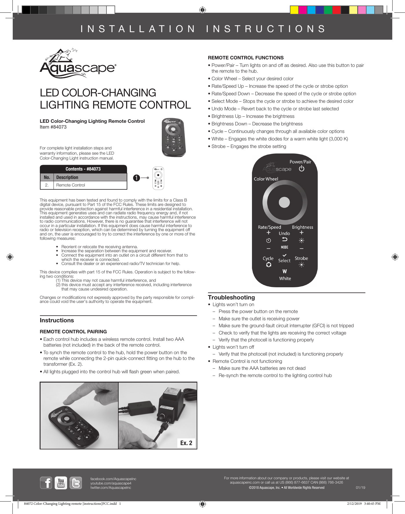 Aquascape 84073 Led Color Changing Lighting Remote Control User Manual