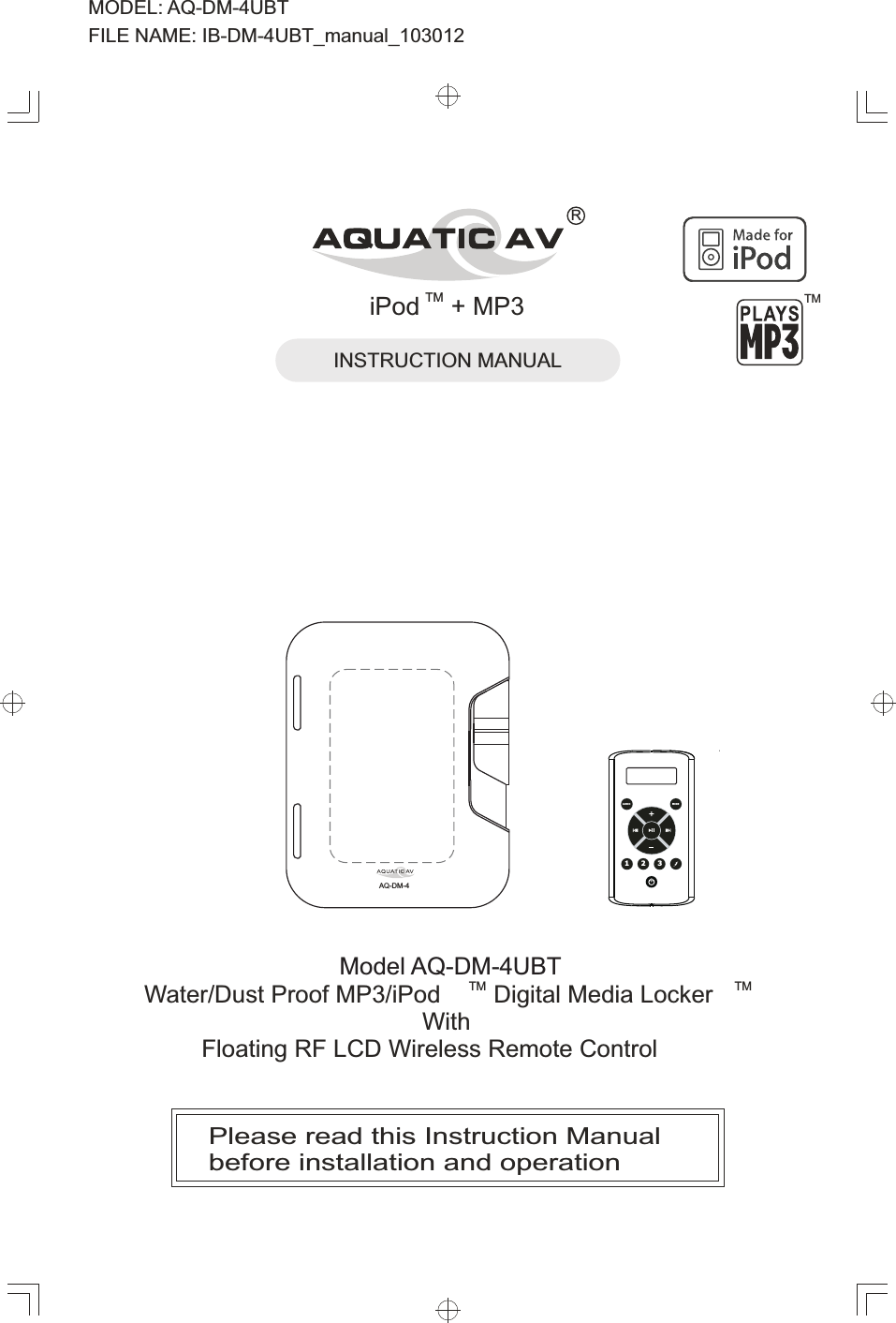 aquatic av aqrfdm4r water dust proof mp3 ipod digital media locker rh usermanual wiki Av Aquatic Center Aquatic AV Radio Harley