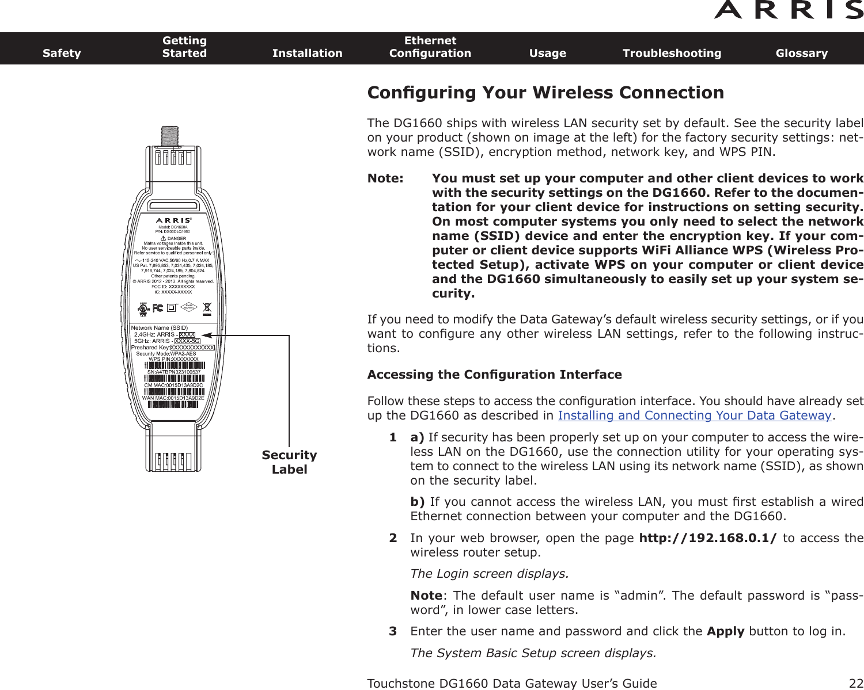 ARRIS Group DG1670 Touchstone Data Gateway User Manual ...