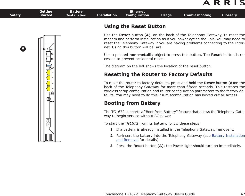 Arris Modem Tg1672 Lights Manual Guide