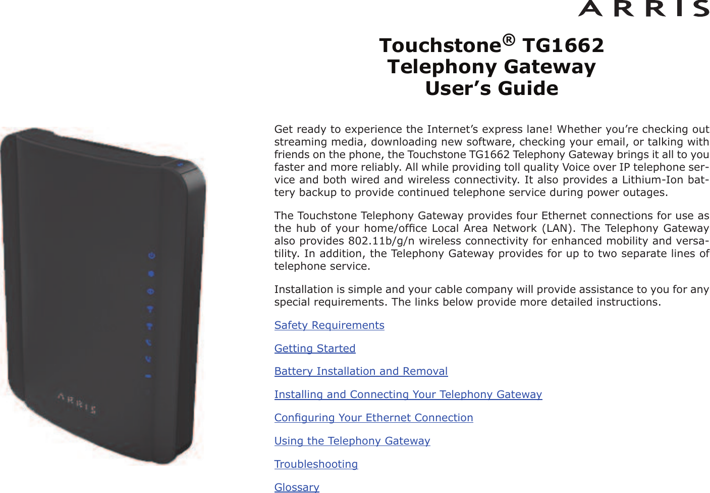 arris group tg1672 touchstone telephony gateway user manual rh usermanual wiki TG862G Modem Configuration Diagram