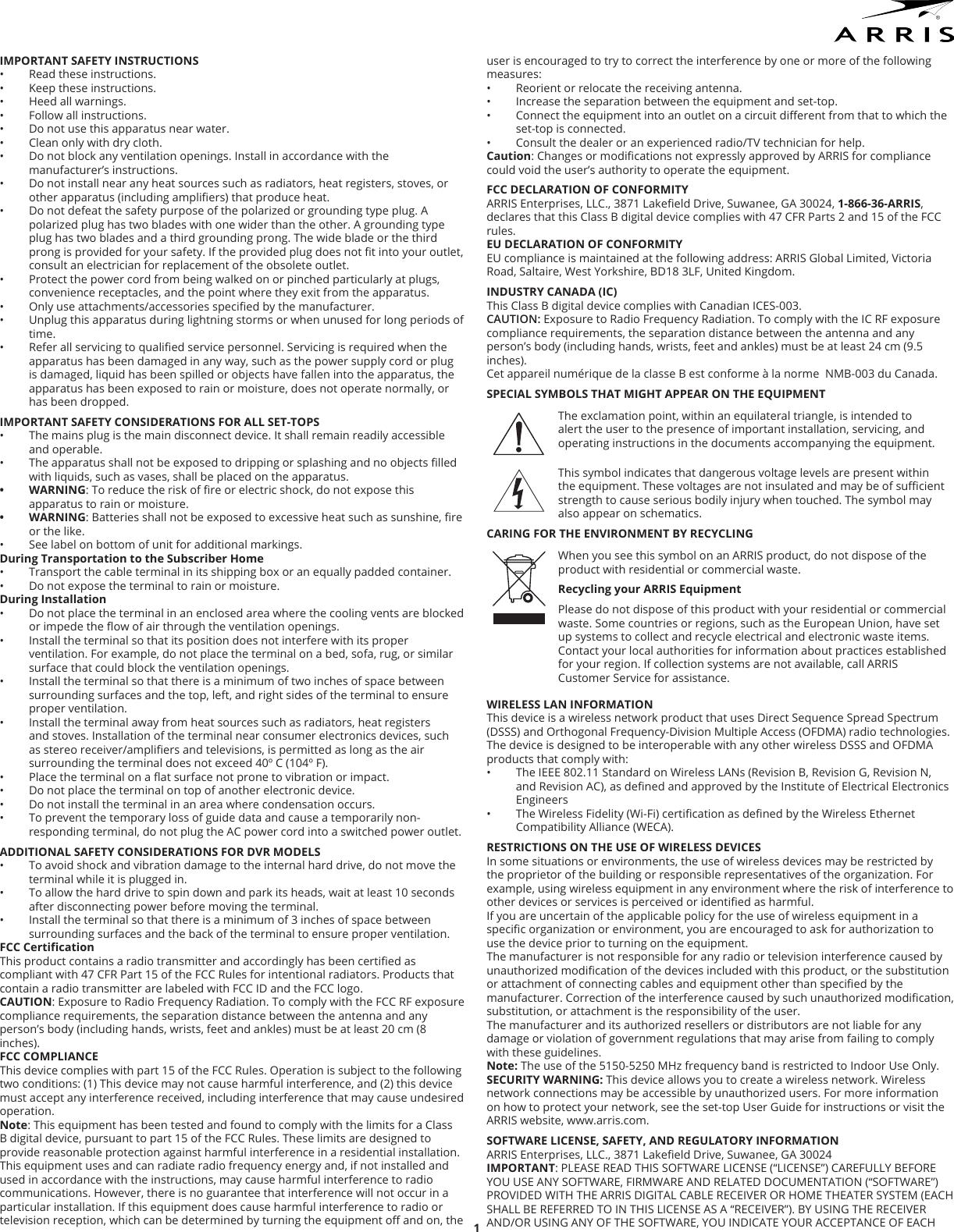 Arris Dcx860 Set Top Box User Manual Users Manual