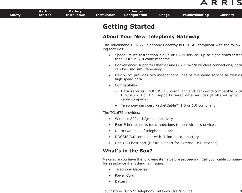 Arris Tg1672g Manual Guide