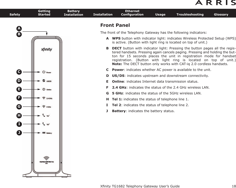 ARRIS TG1682-2 Touchstone Wireless Telephony Gateway User
