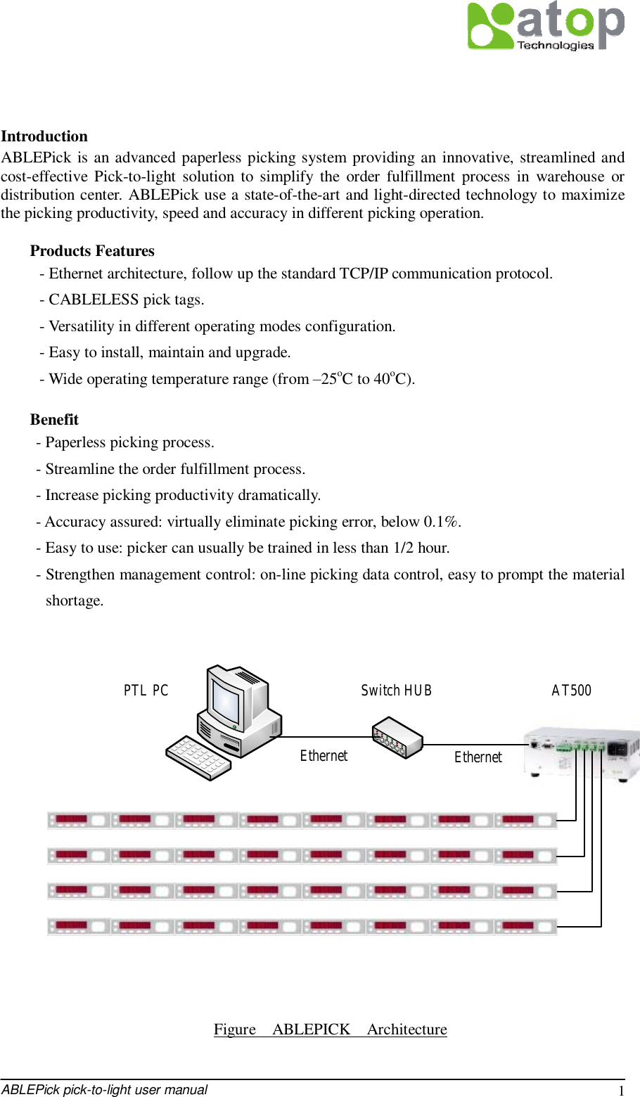 ABLEPick pick-to-light user manual 1  Introduction ABLEPick is an advanced paperless picking system providing an innovative, streamlined and cost-effective Pick-to-light solution to simplify the order fulfillment process in warehouse or distribution center. ABLEPick use a state-of-the-art and light-directed technology to maximize the picking productivity, speed and accuracy in different picking operation.  Products Features - Ethernet architecture, follow up the standard TCP/IP communication protocol. - CABLELESS pick tags. - Versatility in different operating modes configuration. - Easy to install, maintain and upgrade. - Wide operating temperature range (from –25oC to 40oC).  Benefit - Paperless picking process. - Streamline the order fulfillment process. - Increase picking productivity dramatically. - Accuracy assured: virtually eliminate picking error, below 0.1%. - Easy to use: picker can usually be trained in less than 1/2 hour. - Strengthen management control: on-line picking data control, easy to prompt the material shortage.                       Figure  ABLEPICK  Architecture  Switch HUB AT500PTL PCEthernet Ethernet