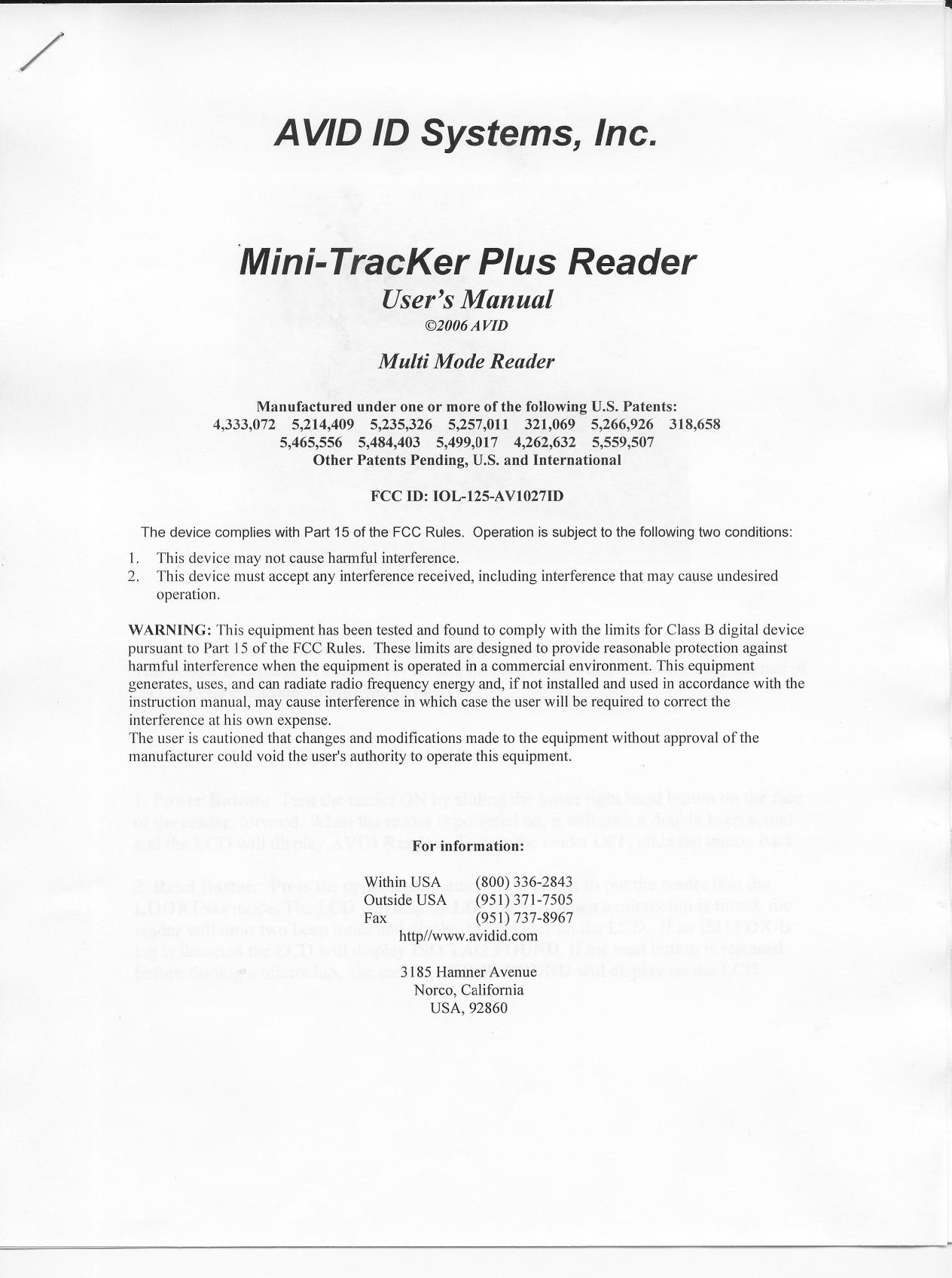 Avid manual array avid id systems 125 av1027id rf id reader user manual rh usermanual wiki fandeluxe Image collections