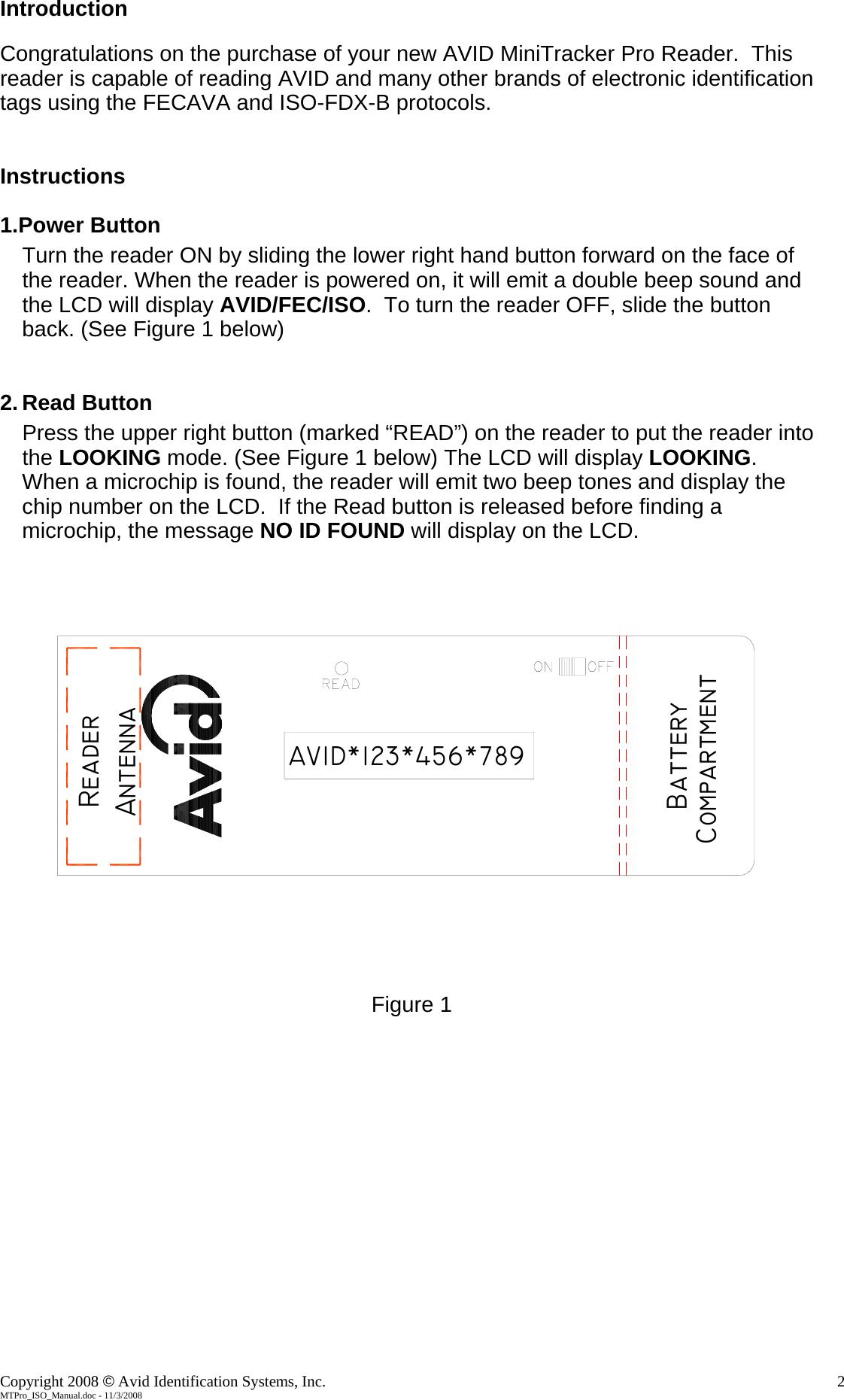 AVID ID Systems 134-AV1034I RFID Reader User Manual Mini TracKer