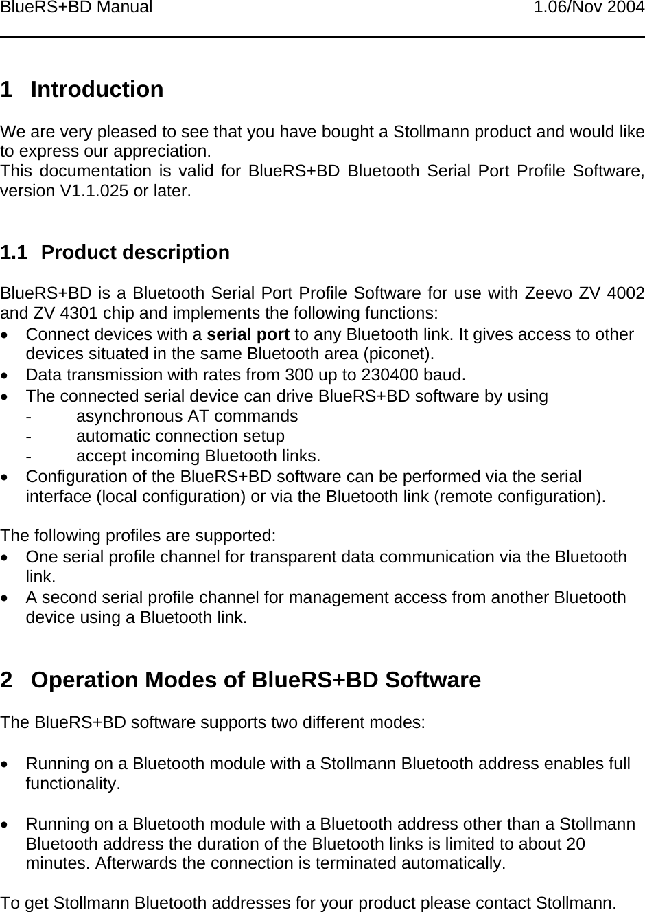 Able Systems BT001 Bluetooth Module User Manual BlueRS BD