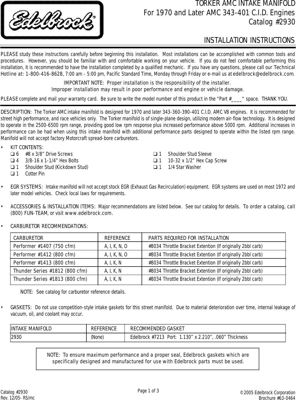 Acer 2930 Torker AMC 343 401 Intake Manifold User Manual To