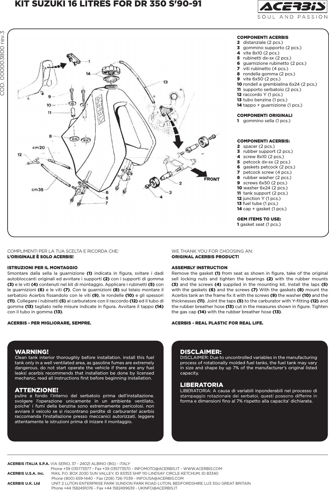 Acerbis 000003800 New Rev 3 User Manual
