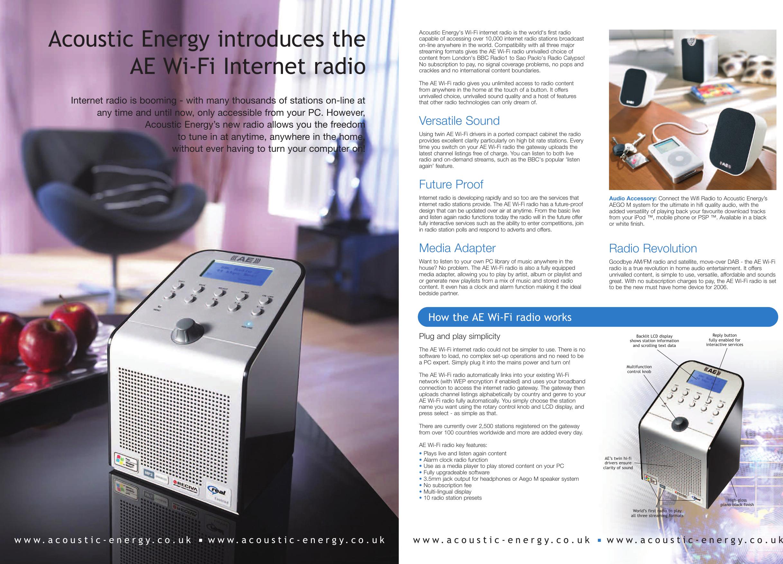 Acoustic Energy Wi Fi Internet Radio Users Manual