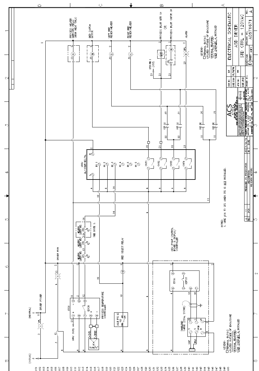 Acs Clothes Dryer A0570882 Users Manual 220 Volt Electric Wiring Diagram Blow Drying 15 30 60 Cfm Compact Dryers Chapter 7 Appendix 49 Of 51 Figure 16 Electrical Drawing