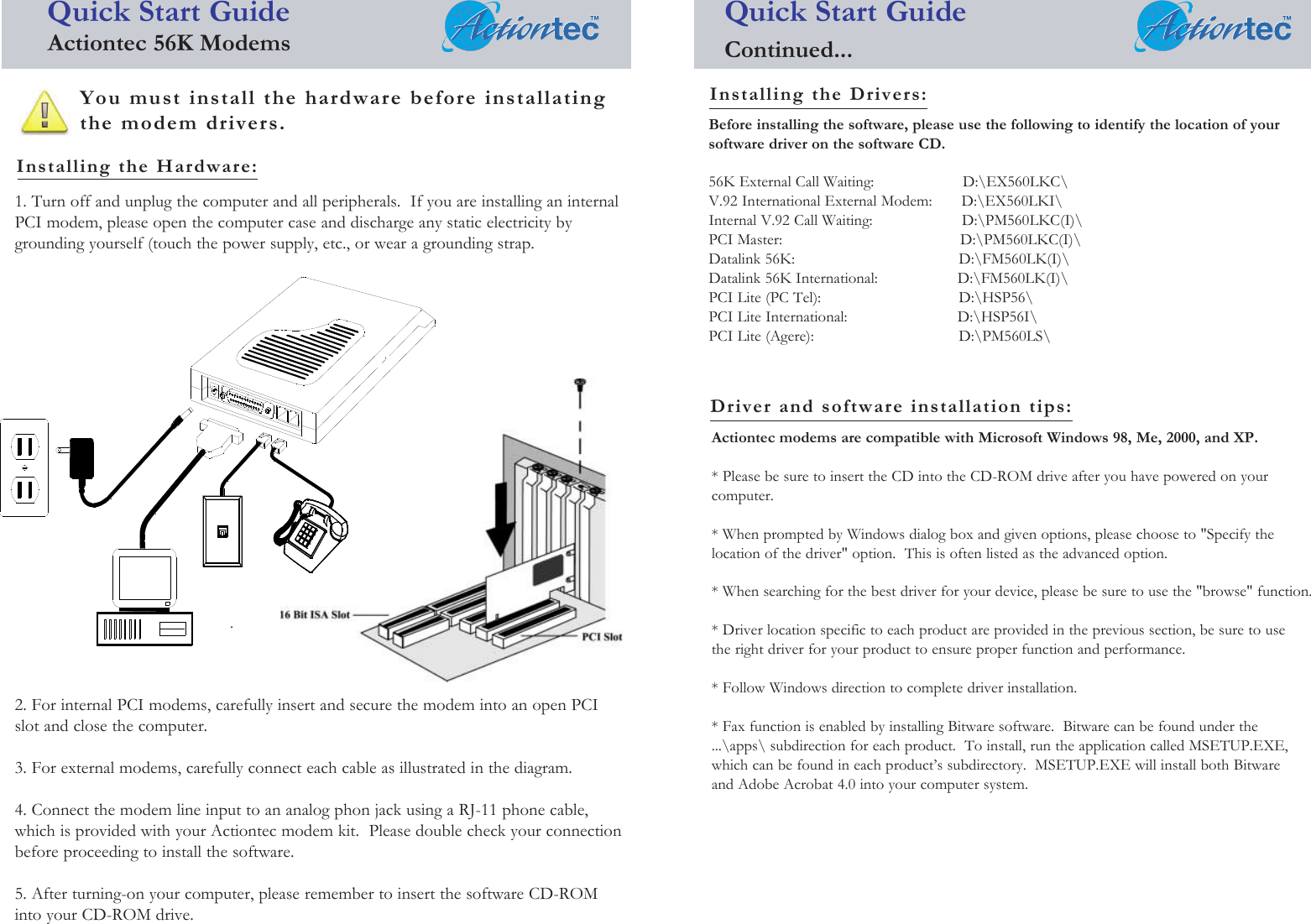 Actiontec Pm560Lki Quick Start Guide ALLMDM English