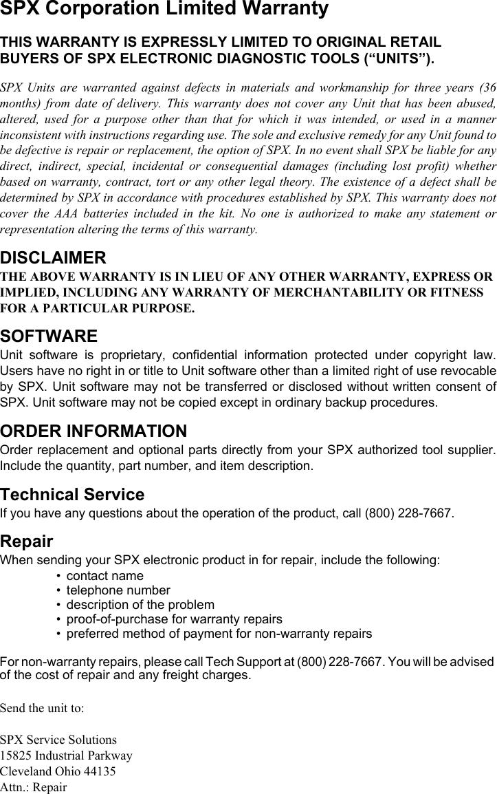 Actron 9640 Users Manual Manual, 0002 000 2378