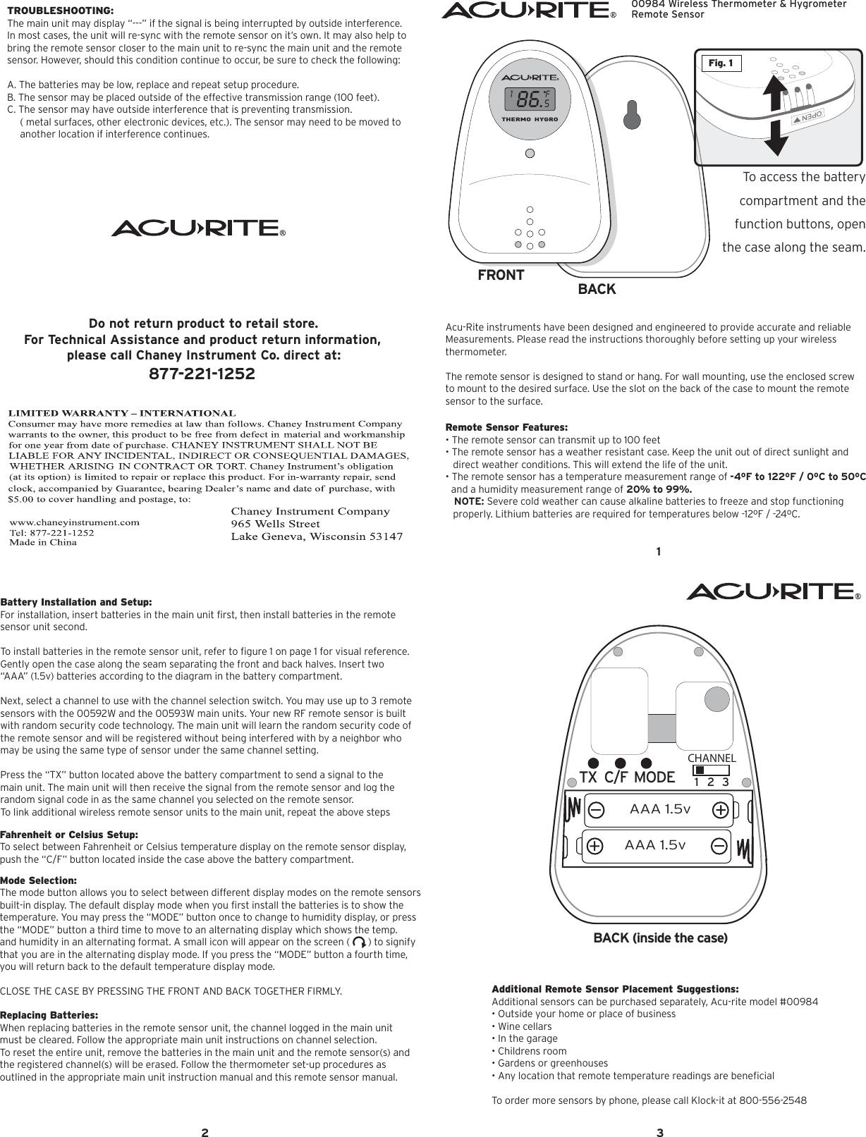 Acu Rite Clock 984 Users Manual 00984 INST