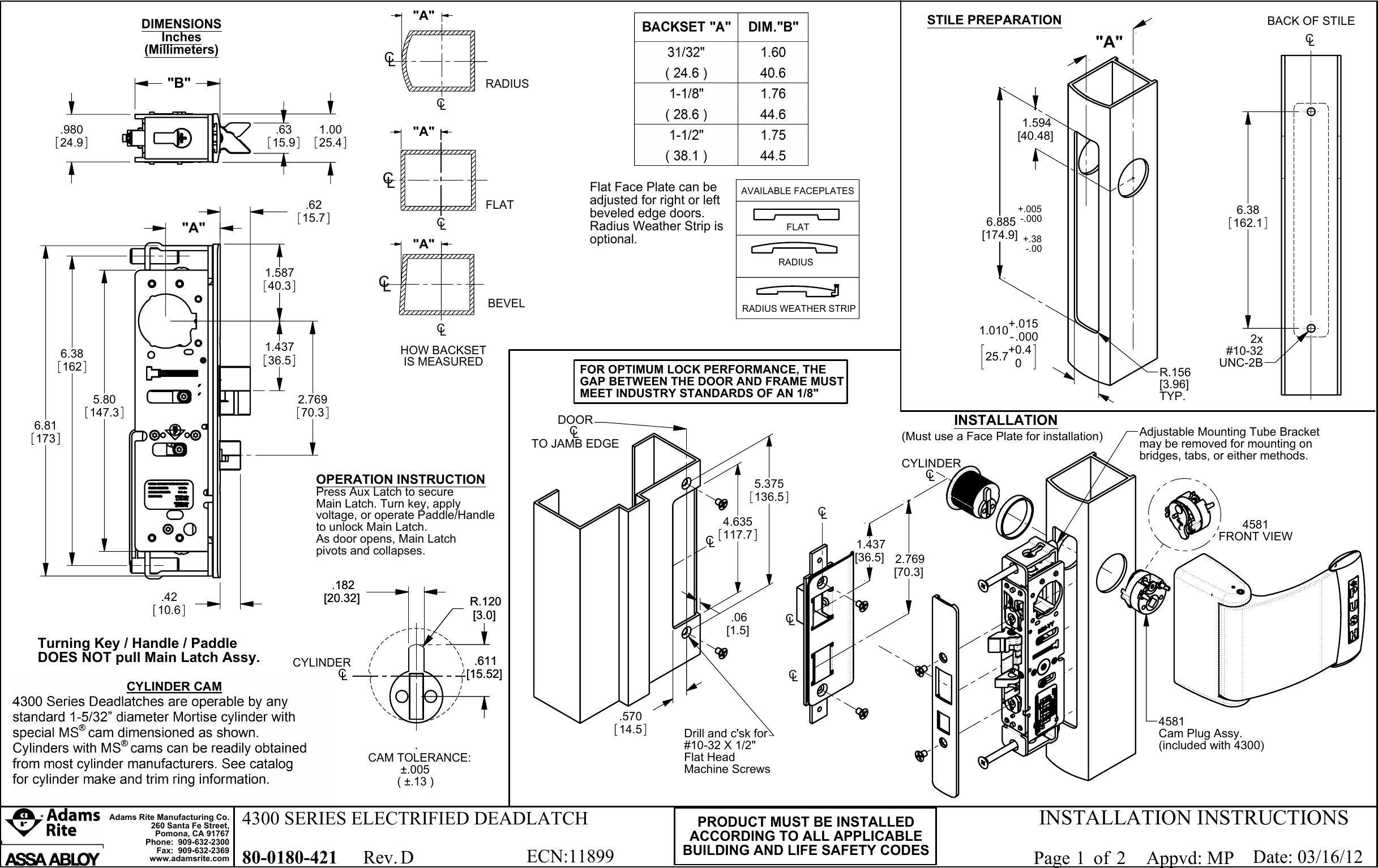 Adams Rite 80 0180 421 D 4300 Series Electrified Deadlatch Rex Manufacturing Transformer Wiring Diagram Installation Instructions