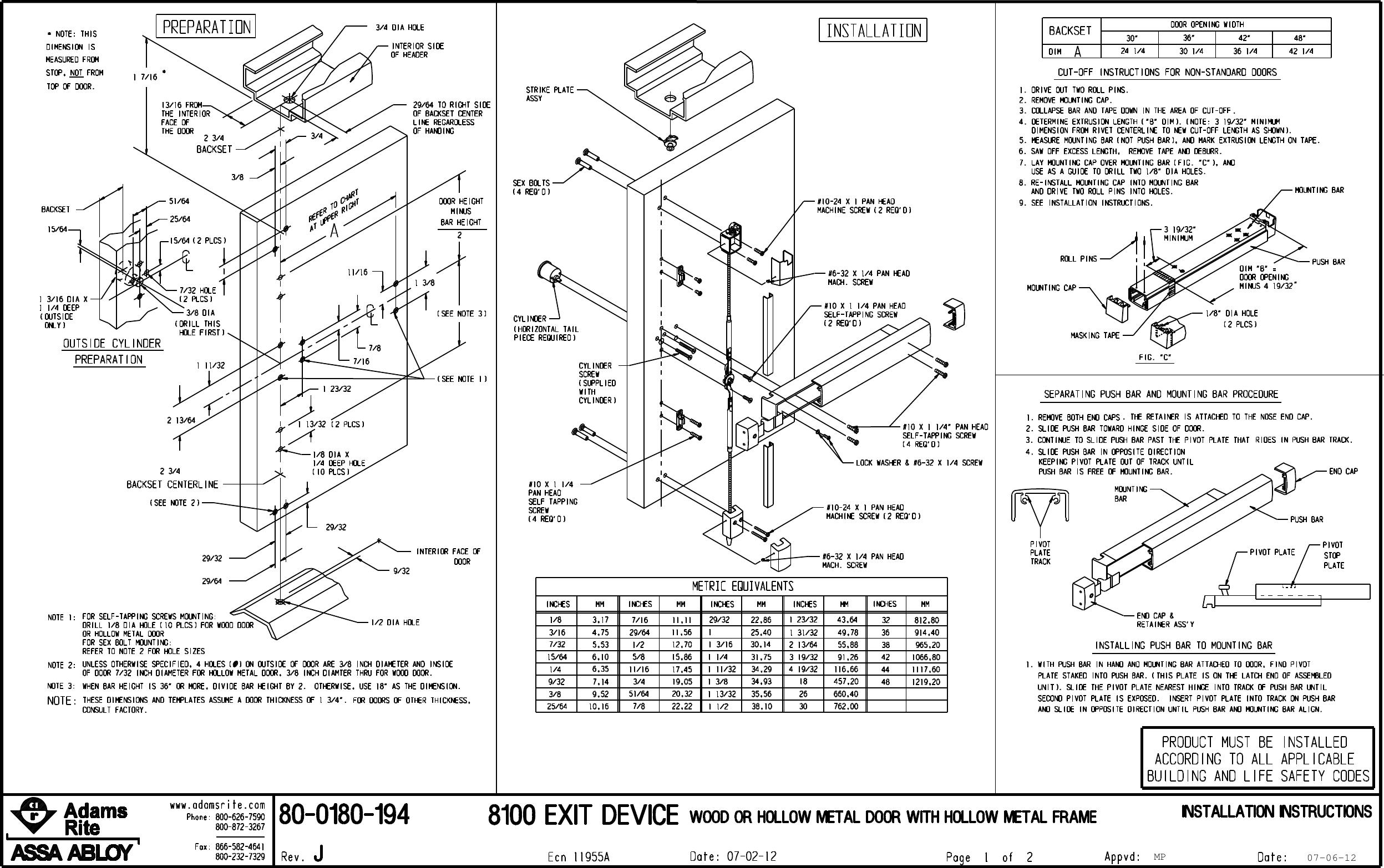Adams Rite 80 0180 194p1_J.prt 8100 Exit Device Wood Or Hollow Metal ...