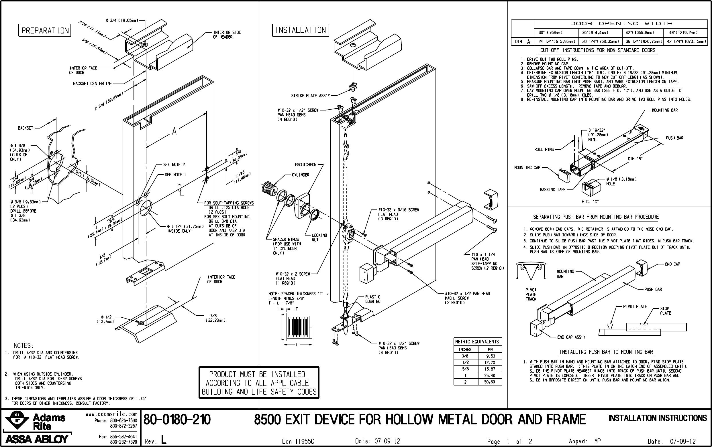 Adams Rite 80 0180 210_L.prt 8500 Exit Device For Hollow Metal Door ...