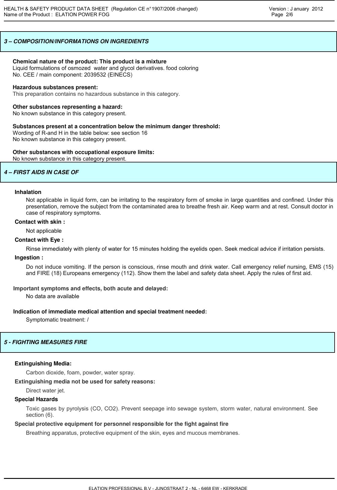 FDS HEALTH & SAFETY DATA SHEET ELATION PROFESSIONAL POWER FOG