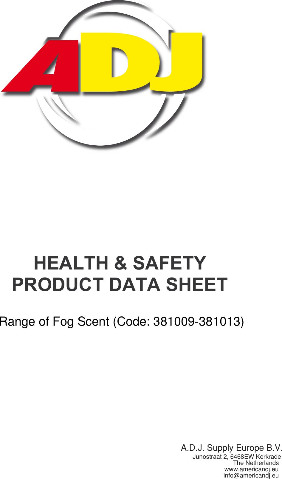 Adj Healthdatasheetadjfogscent 3 FDS EUROSCENT User Manual