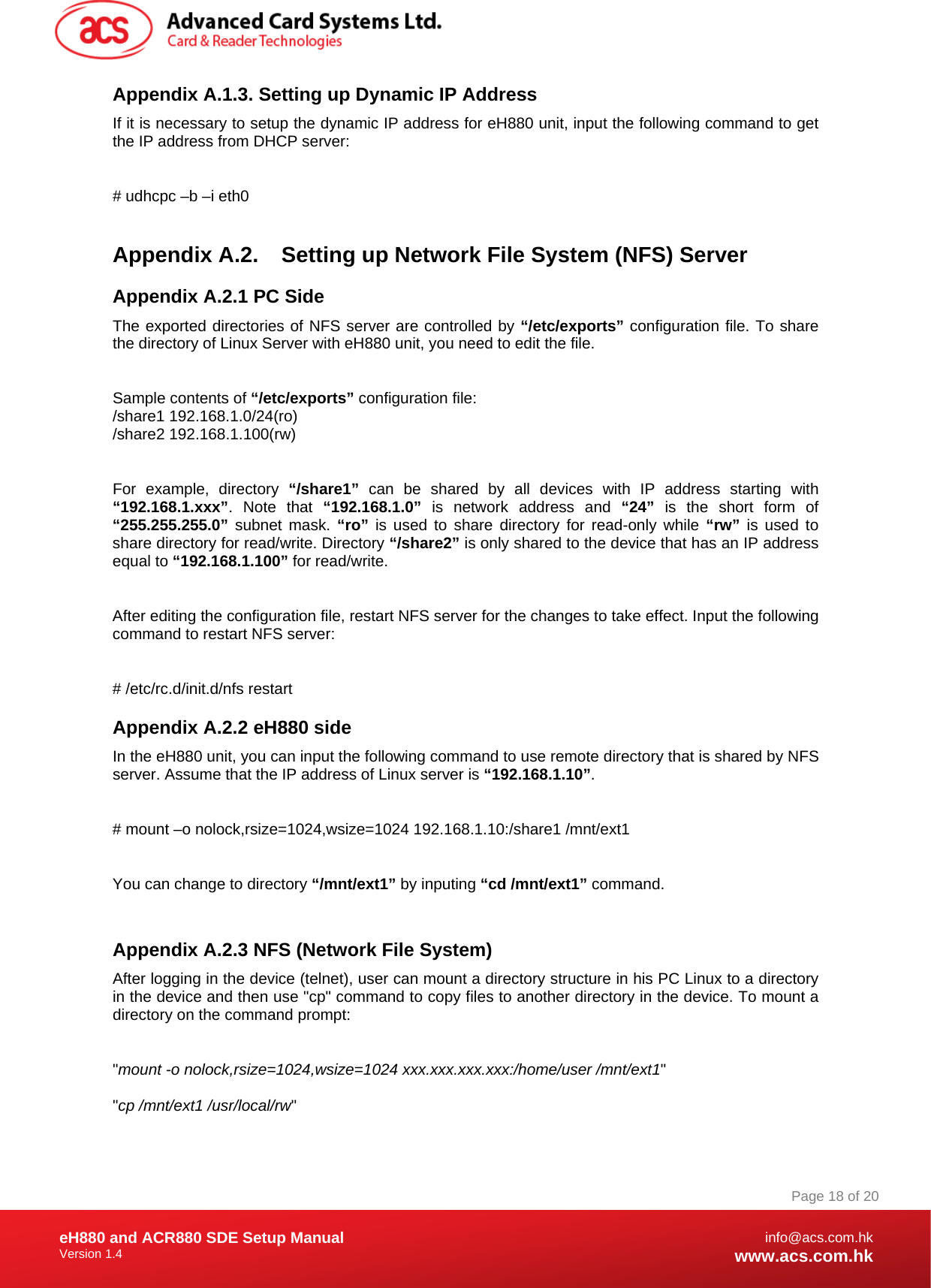 Advanced Card Systems EH880 Smart Card Terminal User Manual