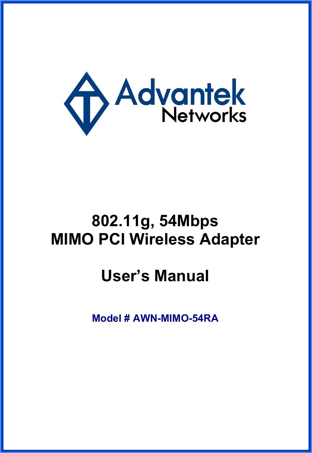 ADVANTEK AWN-MIMO-54RA DRIVERS FOR WINDOWS MAC
