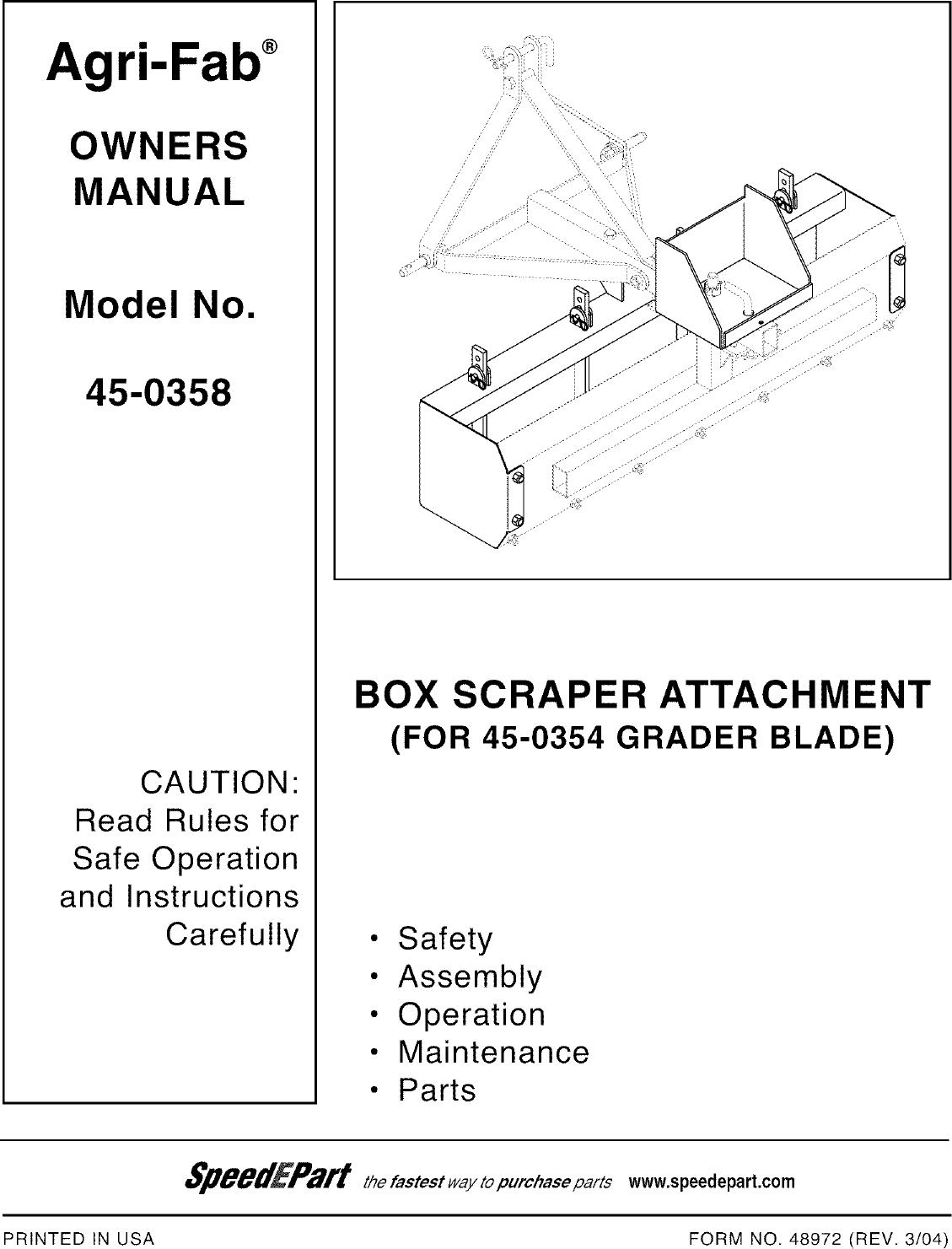 agri fab 45 0358 user manual box scraper attachment manuals and rh usermanual wiki Agri-Fab Mow-N-Vac Agri-Fab Snow Blowers