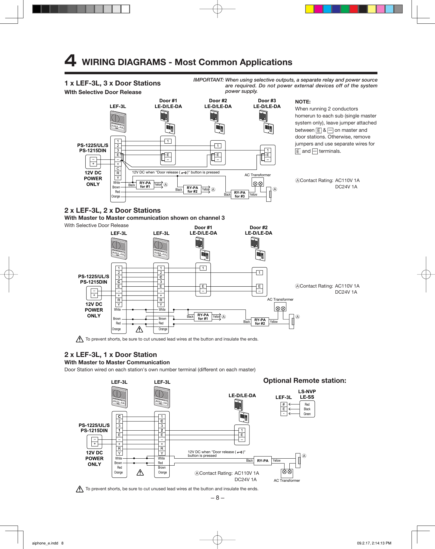 Aiphone Lef 3L Wiring Diagram from usermanual.wiki
