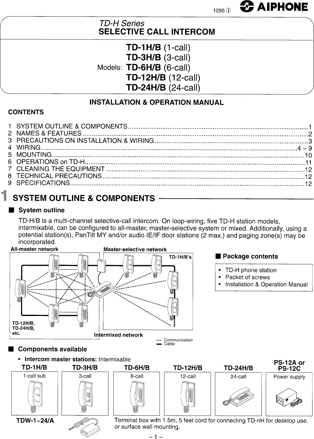 Aiphone Td 12h B Users Manual. Page 1 Of 12 Aiphone Aiphod12hbusers. Wiring. Aiphone Intercom Wiring Diagram Speakers At Scoala.co