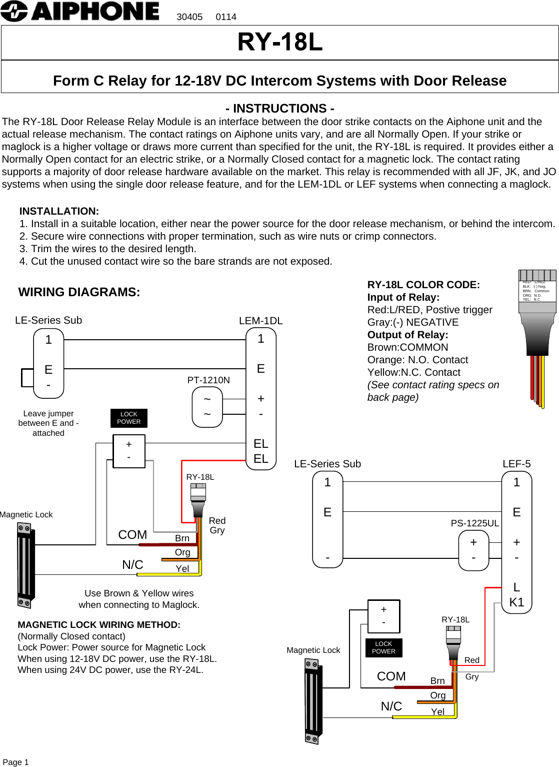 Aiphone Visio Ry 18l Instr 0114 Instructions