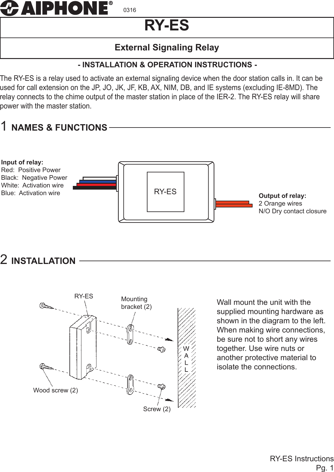 Aiphone Ry Es Instructions Wiring Diagram