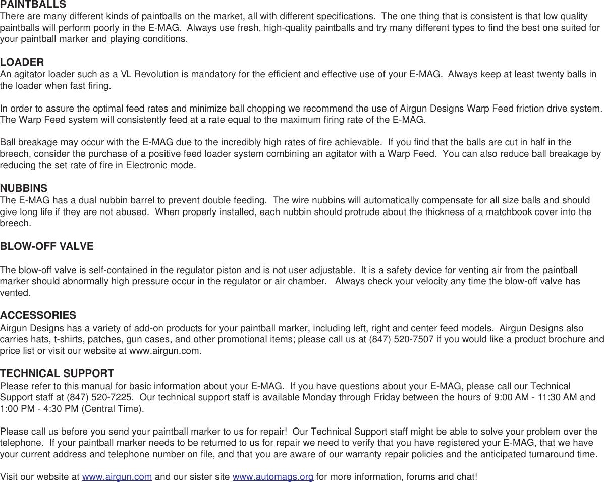 Airgun Designs E Mag Users Manual
