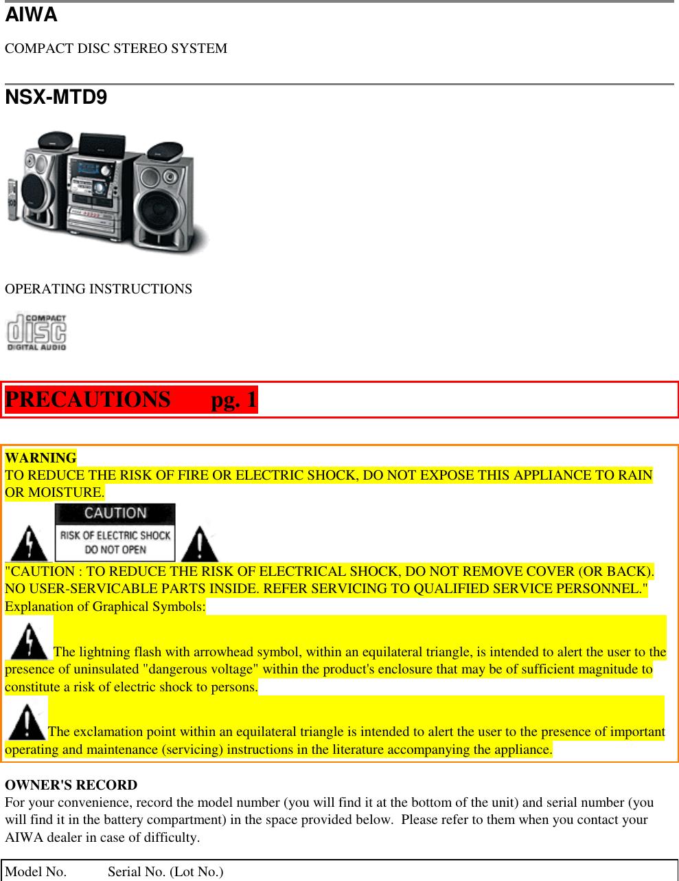 Aiwa Nsx Mtd9 Users Manual Radio Wiring Diagram
