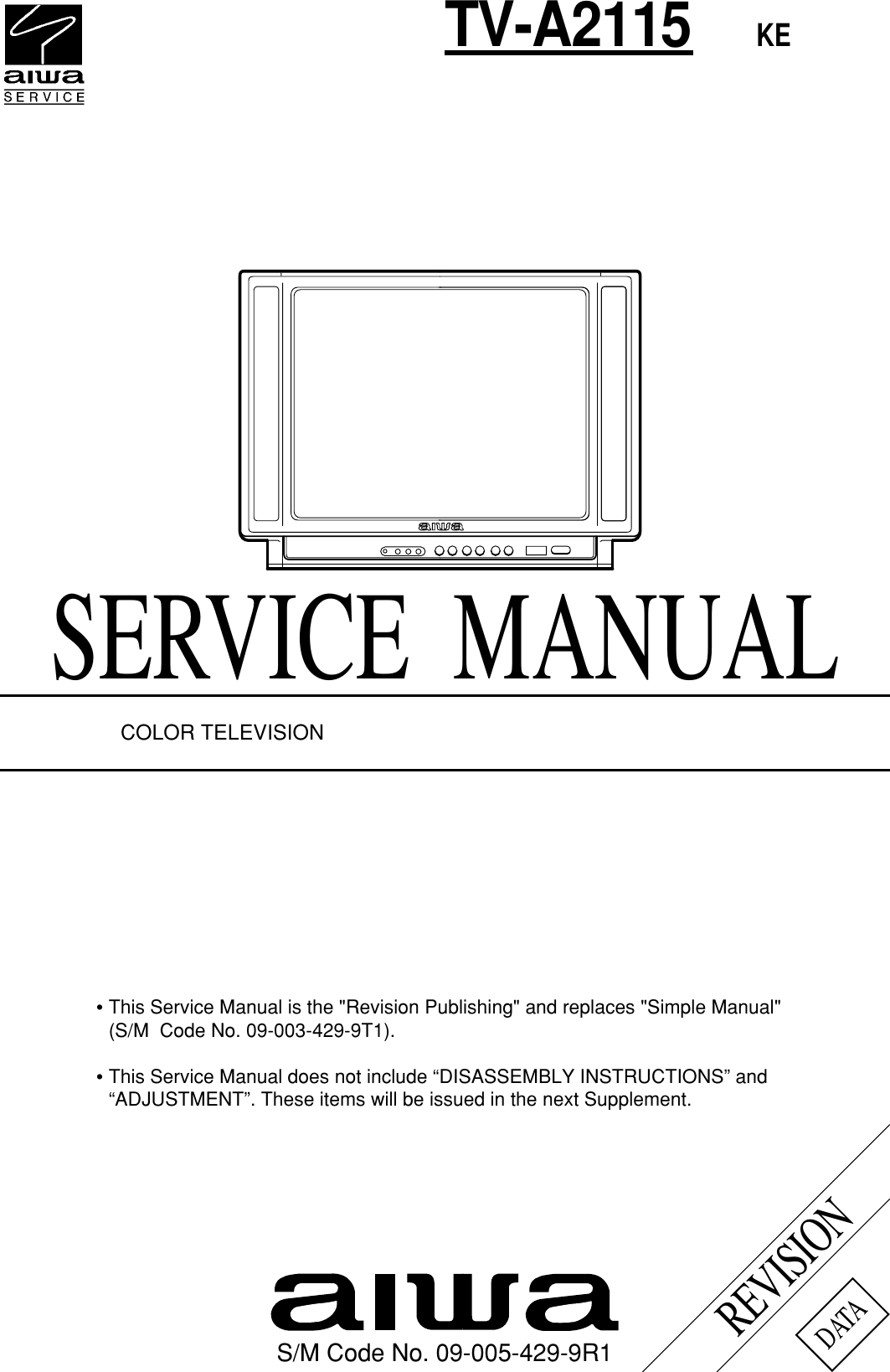 Aiwa Tv A2115 Users Manual Wiring Diagram