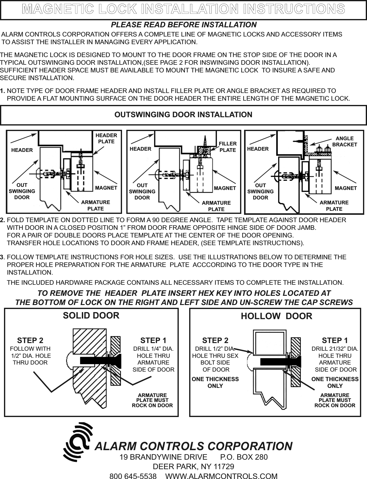 Alarm Controls 1200S CUTSHEET Installation Instructions