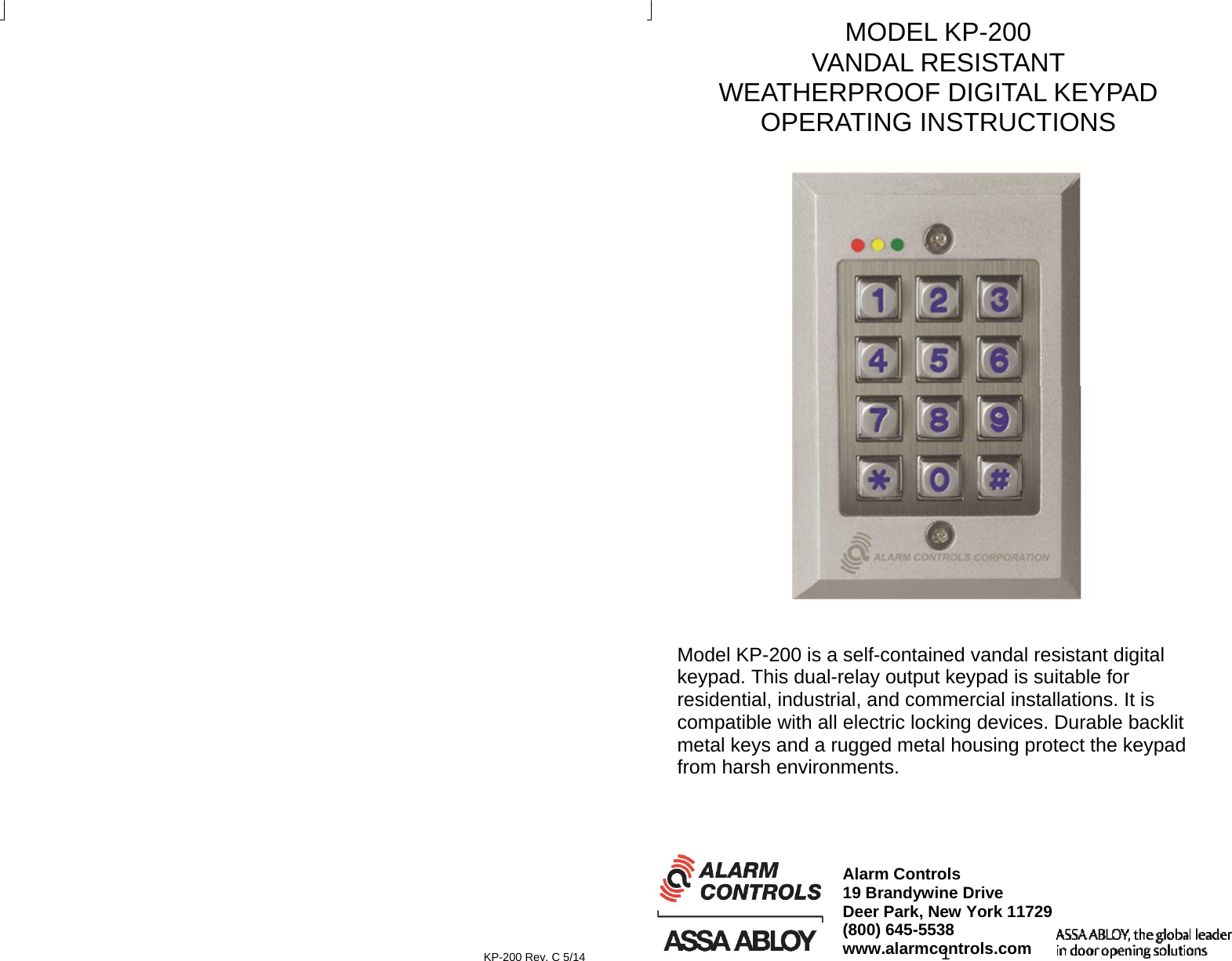 Alarm Controls Publication2 Kp 200 Operating Instructions King Gate Keypad Wiring Diagram