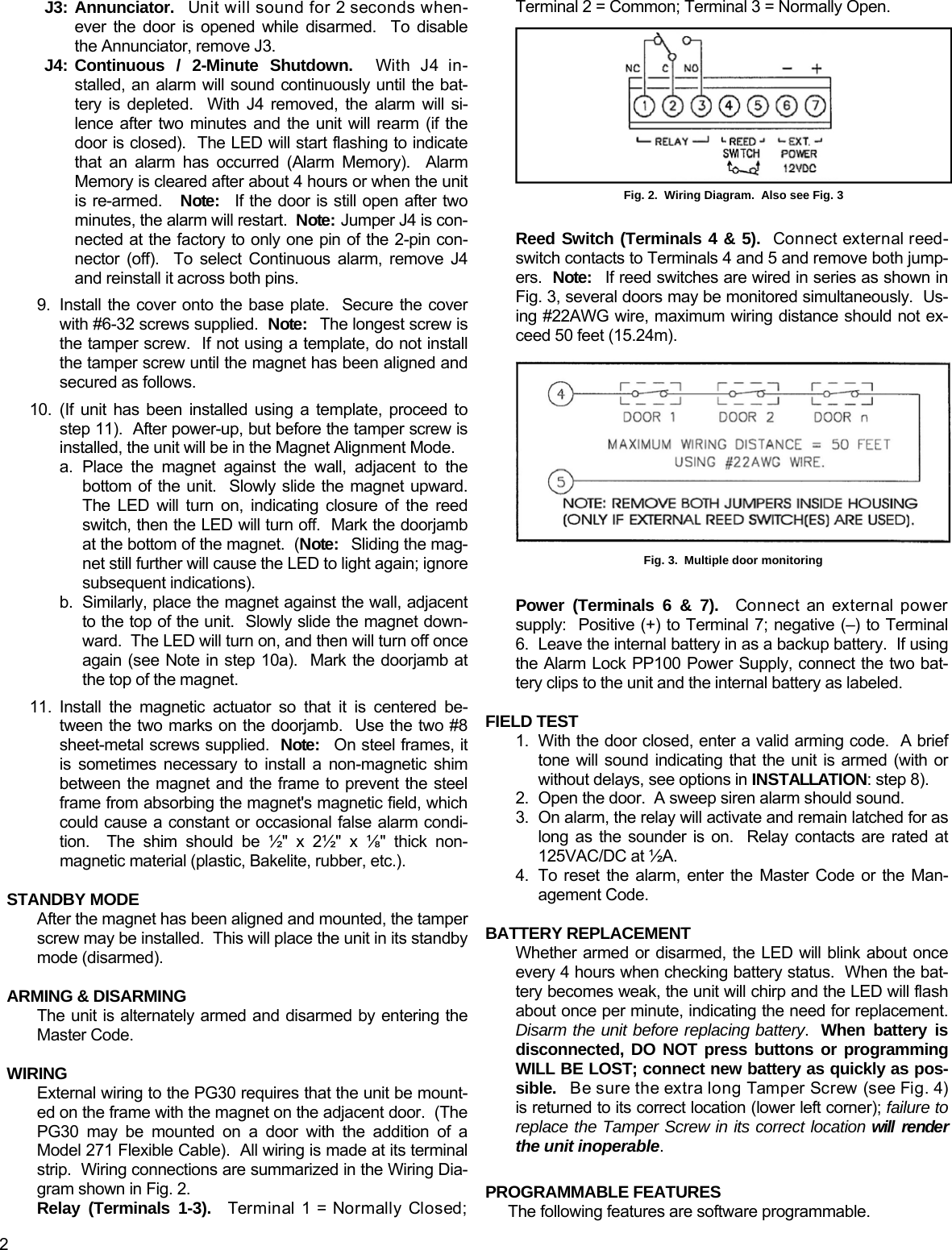 Alarm Lock Pg30 Pilfergard Wi739e01 Inst Installation Wiring Diagram Page 2 Of 4 Instructions Wi739e