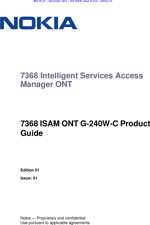 Alcatel Lucent Bell G240W-C GPON ONU User Manual 7368 ISAM