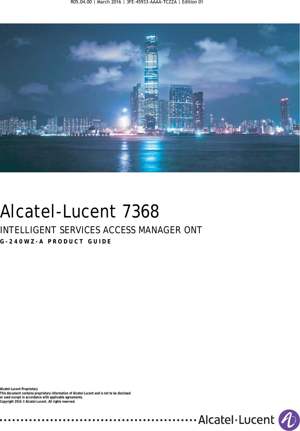 Alcatel Lucent Bell G240WZA Digital Home ONU User Manual 7368 ISAM